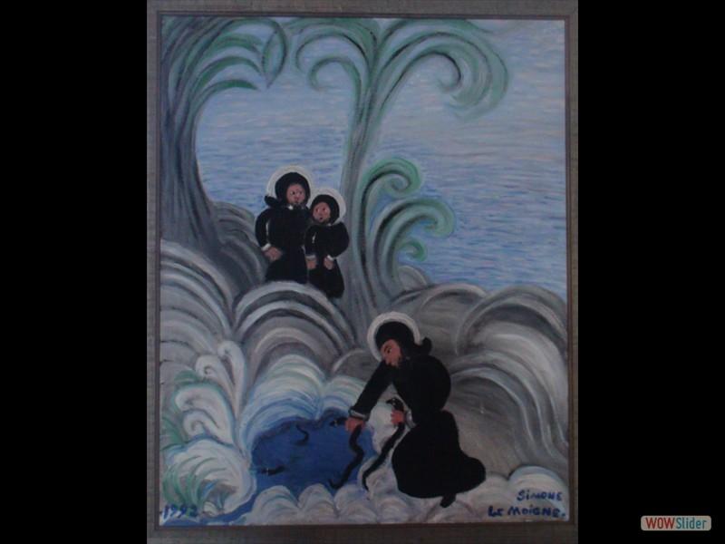 Eglise de Trégornan tableau de Simone Le Moigne St Corentin et le poisson miraculeux