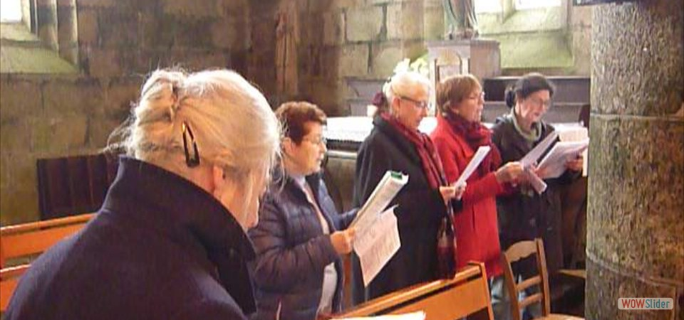 Répétition de chants avant la messe