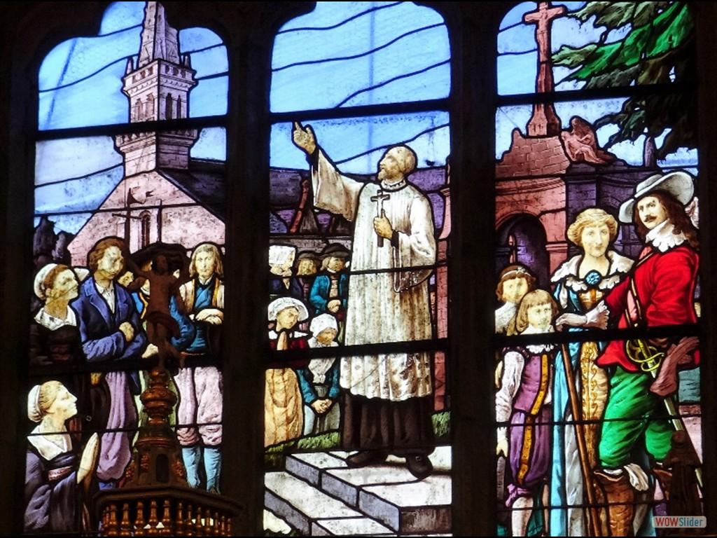 Pardon du père Maunoir un vitrail dans l'église